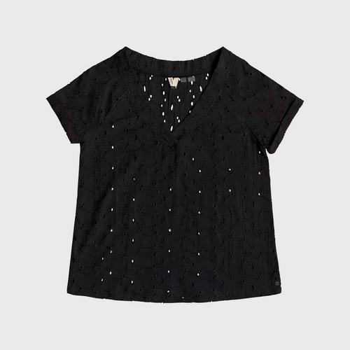 ROXY Black Union Square Flower - Short Sleeve Top  size S