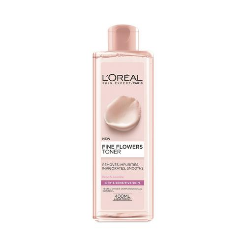 L'OREAL PARIS - SKIN EXPERT - FINE FLOWERS TONER - 400ml - HYDRATING - DRY & SENSITIVE SKIN