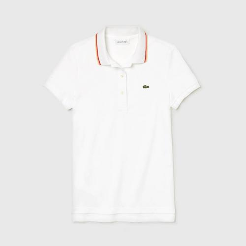 LACOSTE Women's Slim Fit Contrast Collar Polo Shirt White - Size 34