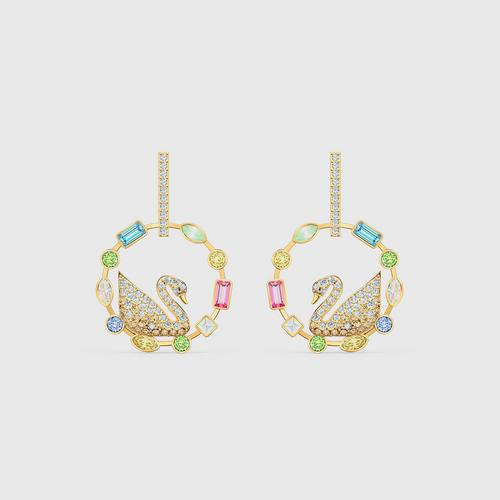 SWAROVSKI Rainbow Swan Hoop Pierced Earrings, Gold-Tone Plated