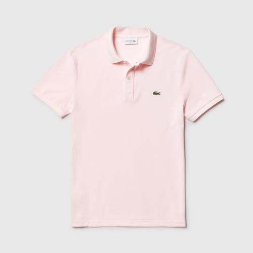LACOSTE Men's Slim fit Lacoste Polo Shirt in petit piqué Light Pink - Size 3