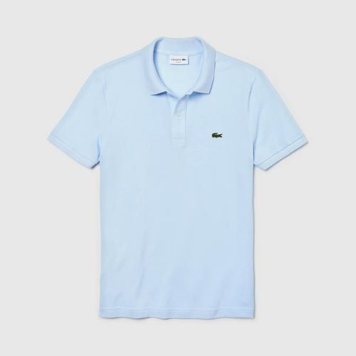 LACOSTE Men's Slim fit Polo Shirt in petit piqué (Light Blue) - Size 4
