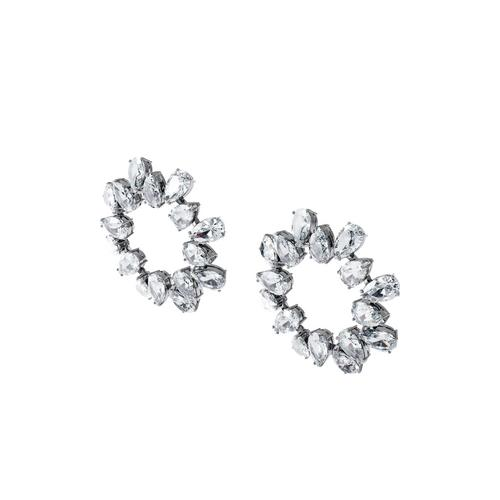 SWAROVSKI Millenia earrings Circle, Pear cut crystals, White, Rhodium plated