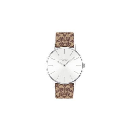COACH 36mm Perry Quartz Silver Dial Brown and Khaki (calfskin) leather (coach logo) strap Watch