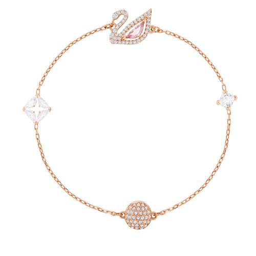 SWAROVSKI Dazzling Swan Bracelet, Multi-Colored, Rose-Gold Tone Plated 17cm