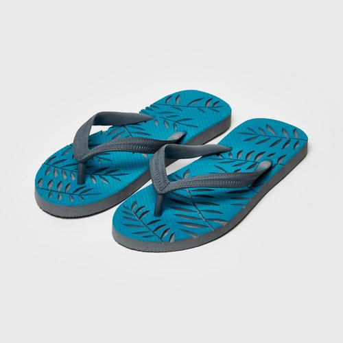 LEELAS Slippers carve blue bamboo leaves Size 10.5