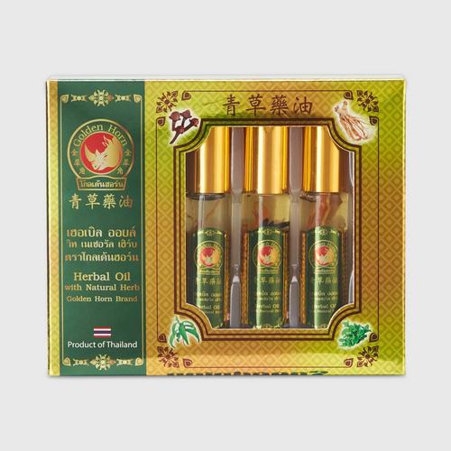 Golden Horn Herbal Oil with Natural Herb 8cc x 3 bottles
