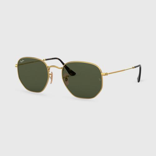 RAYBAN Hexagonal Gold Green Sunglass