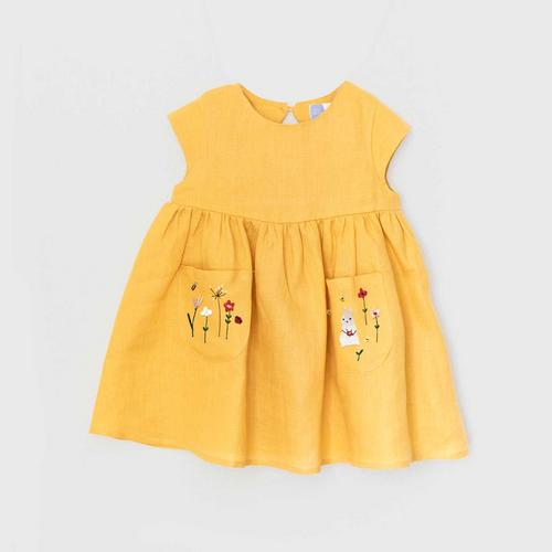 TINY MOON Lola Dress with Embroidery 2-3Y - Mustard