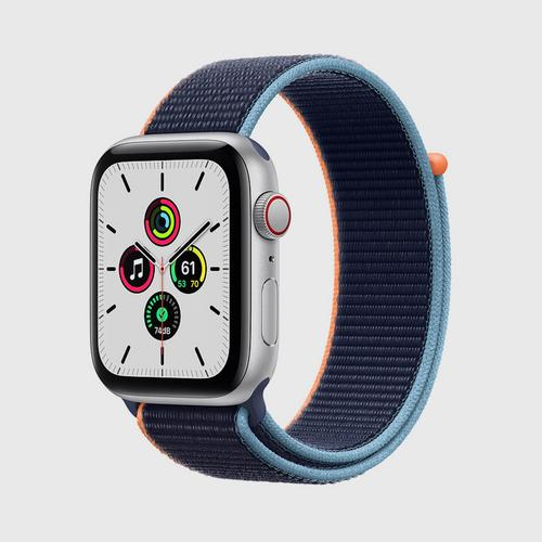 Apple Watch SE (GPS + Cellular) Silver Aluminum Case with Deep Navy Sport Loop (44mm)