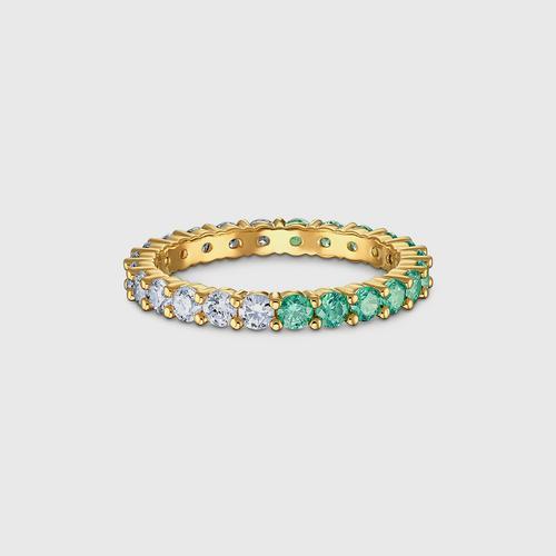 SWAROVSKI Vittore Half Ring, Green, Gold-tone plated - Size 55