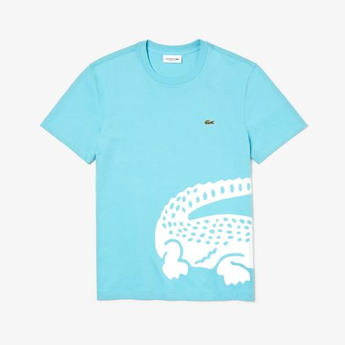 LACOSTE Men's Oversized Crocodile Print Crew Neck T-shirt - 3