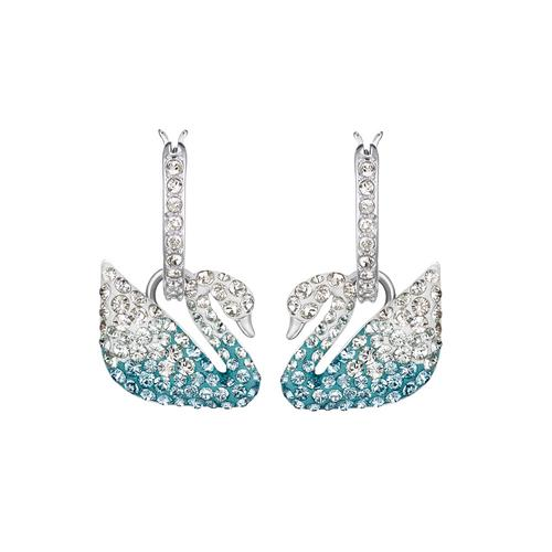 SWAROVSKI Swarovski Iconic Swan Pierced Earrings, Multi-Colored, Rhodium Plated