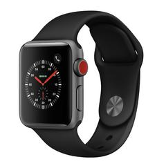 APPLE WATCH Series3 GPS+Cellular 38 mm Space Gray Aluminium Case with Black Sport Band