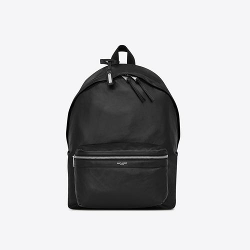 SAINT LAURENT FOLDABLE CITY BACKPACK IN SOFT BLACK LEATHER - NERO