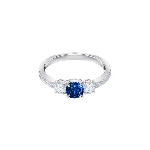 SWAROVSKI Attract Trilogy Round Ring, Blue, Rhodium plating-Size 50