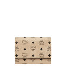 MCM VISETOS ORIGINAL 3-FOLD SMALL WALLET WITH POCKET - BEIGE