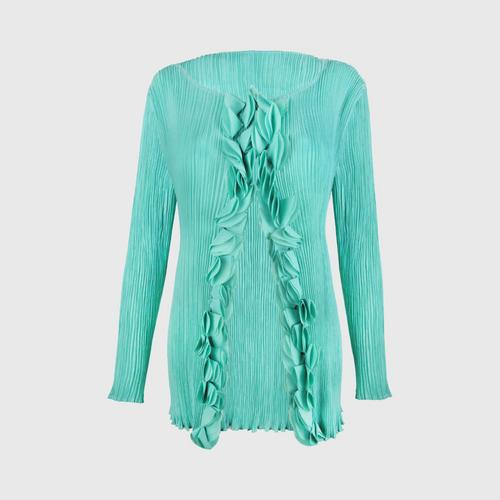 SHEENICHI PLEATS Fluffy pleats cardigan Light Green