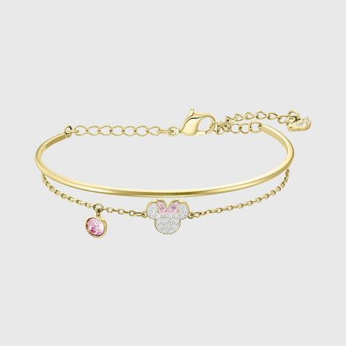 SWAROVSKI Mickey & Minnie Bangle, White, Gold-tone plated - Size M