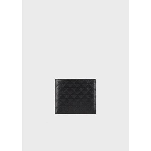 EMPORIO ARMANI Leather wallet with coin purse and all-over monogram