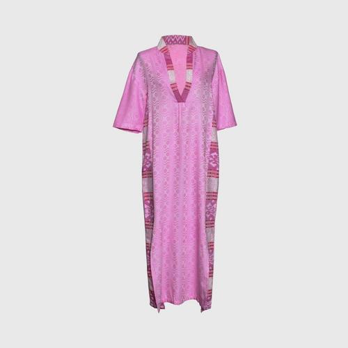 TAYWA - Handwoven cotton dress Free size light pink