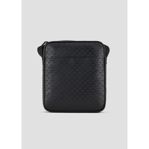 EMPORIO ARMANI Leather shoulder bag with embossed monogram