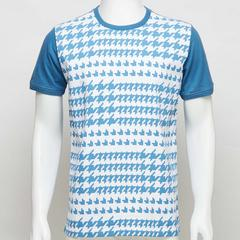 Voyage of Style T-Shirt with houndstooth print in blue. Size S