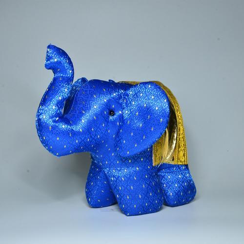 KACHA Elephant Stand Doll Size M 7.5 x 15.5 x 15.5 cm. NAVY