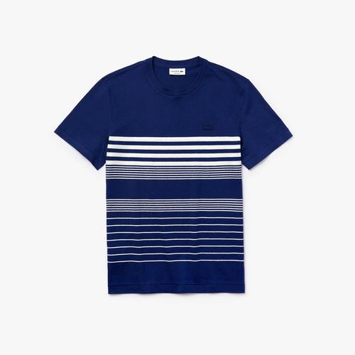 LACOSTE Men's Striped Cotton and Linen T-Shirt - 5