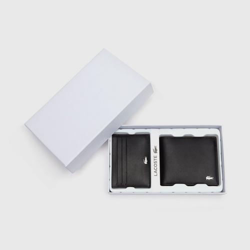 LACOSTE Men's Fitzgerald Leather Wallet And Card Holder Set - Black