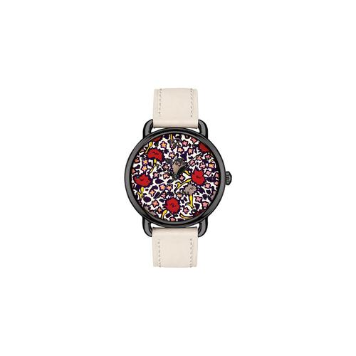 COACH 36 mm. Delancey Ionized Plated Floral Print Dial Leather Strap Watch