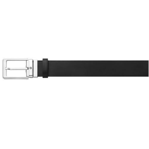 MONTBLANC Rectangular Rounded Shiny Palladium-Coated Pin Buckle Belt