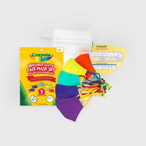 SchoolMaskPack™ Crayola™ Reusable Cloth Face Mask Set - Cool Colors (Size S)