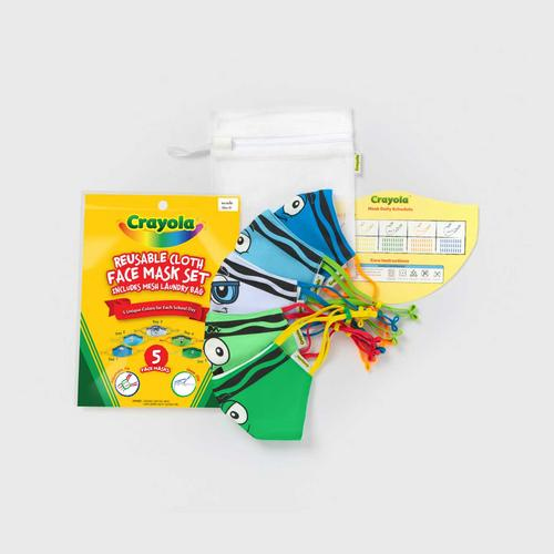 SchoolMaskPack™ Crayola™ Reusable Cloth Face Mask Set - Blues and Greens Tip™ Faces (Size S)