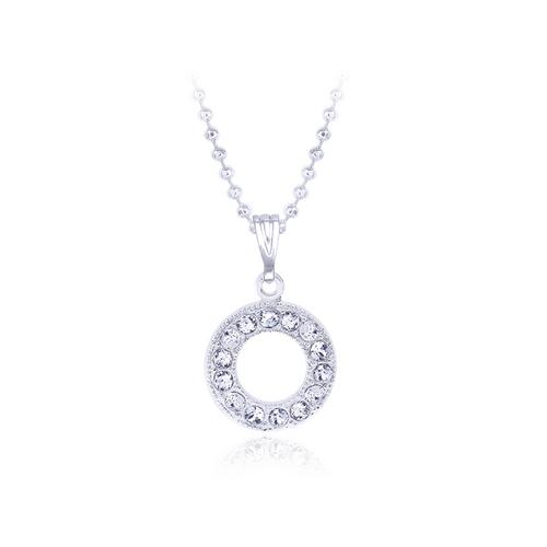12VICTORY  Circle Crystal Necklace