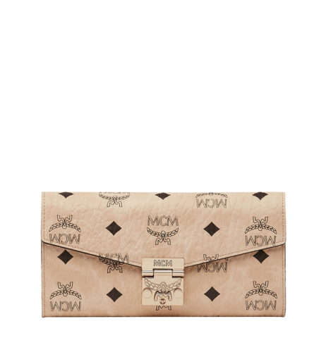 MCM PATRICIA VISETOS 2-FOLD LARGE WALLET WITH CHAIN - Beige