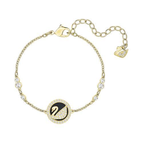 施华洛世奇 SWAROVSKI LEATHER SWAN 手链, 白色, 镀金色调 颜色: 白色 尺寸: 15 厘米
