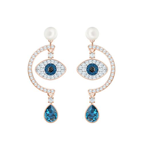 SWAROVSKI Luckily Evil Eye Pierced Earrings, Blue, Rose-gold tone plated