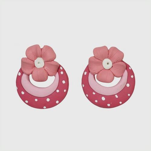 NANY OTOP Pink flower earrings, pink hoops, polka dots.