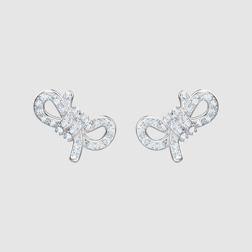 SWAROVSKI Lifelong Bow Pierced Earrings, White, Rhodium plated