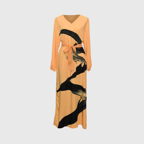 LAISEN V-neck long-sleeve A-line dress with bow tie - Cool Milk Tea