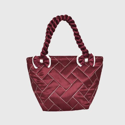 AIYA Satin Brick Design 009SS Bag - CRIMSON