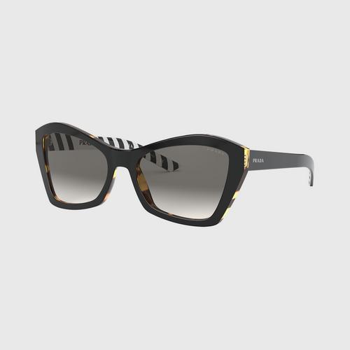 PRADA 0PR 07XSF Top Black-Medium Havana/Gradient Grey Mirror Silver Lens (NAI130) Sunglasses