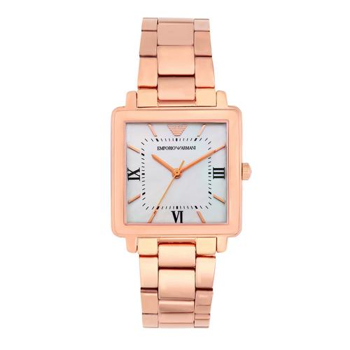 EMPORIO ARMANI Modern Square Analog Rose Gold Stainless Steel Watch