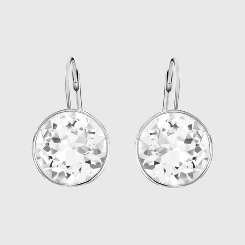 SWAROVSKI Bella Pierced Earrings, White, Rhodium Plating