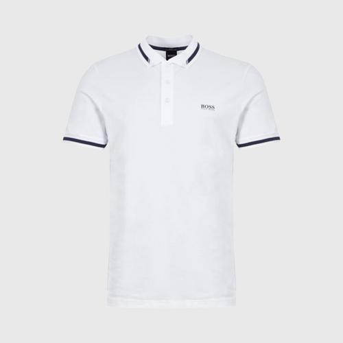 Hugo Boss Slim-fit polo shirt with S.Café® and logo collar (White) - Size L