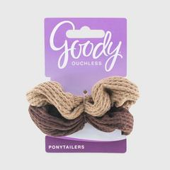 GOODY Women's Ouchless Waffle Scrunchies, Brown 2CT