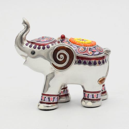 LOYFAR Pewter Jewelry Box, Elephant Trunk Up