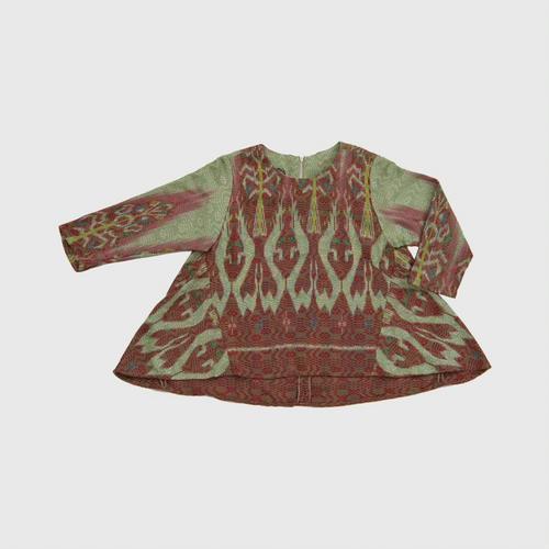 HATTRA Boat neck short, long back, Rachawat pattern Size 40 GREEN&RED