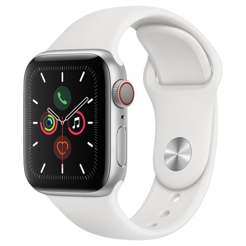 Apple Watch Series 5 Silver Aluminum Case with Sport Band (White)